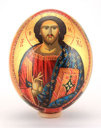 ostrich eggs with icon painting